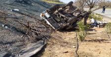 Önündeki Araç Ani Fren Yapınca Savrulan Araç Takla Attı