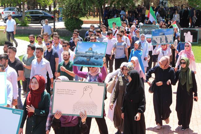 Gaziantep'te üniversiteliler Kudüs için yürüdü