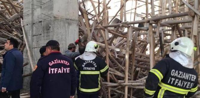 Gaziantep'te cami inşaatında çökme! 1 işçi enkaz altında