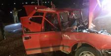 Gaziantep'te otomobille hafriyat kamyonu çarpıştı