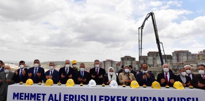 MEHMET ALİ ERUSLU HAFIZLIK KUR'AN KURSU'NUN TEMELİ ATILDI